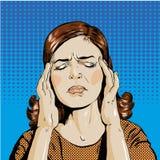 Η γυναίκα στην πίεση έχει τον πονοκέφαλο Διανυσματικό αναδρομικό κωμικό ύφος τέχνης απεικόνισης λαϊκό απεικόνιση αποθεμάτων