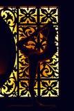 Η γυναίκα στη γιόγκα pilates στις σκιές Ασιάτης χαλαρώνει Στοκ Εικόνες