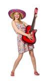 Η γυναίκα στη μουσική έννοια με την κιθάρα στο λευκό Στοκ εικόνα με δικαίωμα ελεύθερης χρήσης