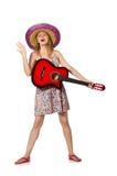 Η γυναίκα στη μουσική έννοια με την κιθάρα στο λευκό Στοκ φωτογραφία με δικαίωμα ελεύθερης χρήσης