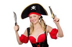 Η γυναίκα στο κοστούμι πειρατών - έννοια αποκριών Στοκ εικόνες με δικαίωμα ελεύθερης χρήσης