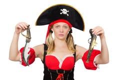 Η γυναίκα στο κοστούμι πειρατών - έννοια αποκριών Στοκ Εικόνα