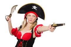 Η γυναίκα στο κοστούμι πειρατών - έννοια αποκριών Στοκ φωτογραφία με δικαίωμα ελεύθερης χρήσης