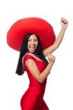 Η γυναίκα στο κόκκινο φόρεμα με το σομπρέρο Στοκ Φωτογραφία