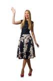 Η γυναίκα στο μαύρο floral φόρεμα στο λευκό Στοκ φωτογραφία με δικαίωμα ελεύθερης χρήσης