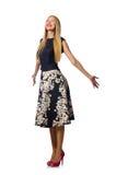 Η γυναίκα στο μαύρο floral φόρεμα στο λευκό Στοκ φωτογραφίες με δικαίωμα ελεύθερης χρήσης