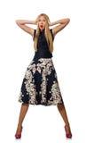 Η γυναίκα στο μαύρο floral φόρεμα στο λευκό Στοκ Εικόνες