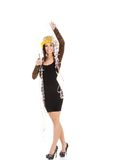 Η γυναίκα στο φόρεμα κομμάτων γιορτάζει το νέο έτος Στοκ φωτογραφία με δικαίωμα ελεύθερης χρήσης