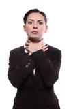 Η γυναίκα στραγγαλίζεται στοκ φωτογραφίες με δικαίωμα ελεύθερης χρήσης