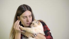 Η γυναίκα ταΐζει μια γάτα στην περιτύλιξή της με τα συμπληρωματικά τρόφιμα της Pet απόθεμα βίντεο