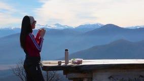 Η γυναίκα τρώει τα σάντουιτς και πίνει το τσάι ενάντια στο τοπίο με τα βουνά φιλμ μικρού μήκους