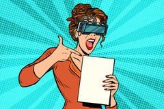Η γυναίκα υποστηρικτών στην εικονική πραγματικότητα γυαλιών διαφημίζει διανυσματική απεικόνιση