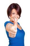 Η γυναίκα χαμογελά και αισθάνεται μεγάλη Στοκ Φωτογραφία