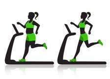 Η γυναίκα treadmill επαναρύθμισε το υπερβολικό βάρος Στοκ Φωτογραφίες