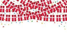 Η Δανία σημαιοστολίζει το άσπρο υπόβαθρο γιρλαντών με το κομφετί διανυσματική απεικόνιση
