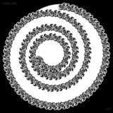 Η δαντέλλα γύρω από doily εγγράφου, σύροντας το σπειροειδές, χαιρετώντας στοιχείο, λέιζερ έκοψε το πρότυπο, doily για να διακοσμή διανυσματική απεικόνιση