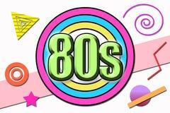 Η δεκαετία του '80 ` επιγραφής ` στο ύφος κινούμενων σχεδίων στοκ φωτογραφία με δικαίωμα ελεύθερης χρήσης