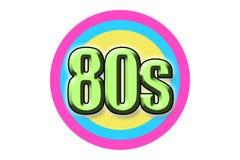 Η δεκαετία του '80 ` επιγραφής ` στο ύφος κινούμενων σχεδίων στοκ εικόνα