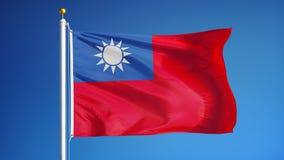 Η Δημοκρατία της σημαίας της Κίνας σε σε αργή κίνηση περιτυλίχτηκε χωρίς ραφή με τον άλφα φιλμ μικρού μήκους