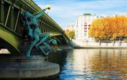 Η διάσημη γέφυρα Mirabeau, Παρίσι Γαλλία Στοκ Εικόνα