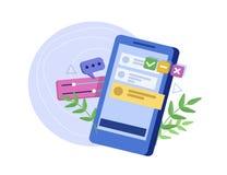 Η διαδικασία τη διεπαφή για το smartphone Εμπειρία ενδιάμεσων με τον χρήστη, δυνατότητα χρησιμοποίησης, πρότυπο, wireframe ανάπτυ διανυσματική απεικόνιση