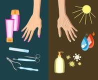 Η διαδικασία του δέρματος χεριών που γερνά, λόγος επίσης corel σύρετε το διάνυσμα απεικόνισης απεικόνιση αποθεμάτων