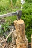 Η διαδικασία το ξύλο με έναν μπαλτά Τσεκούρι στο κούτσουρο στοκ εικόνες με δικαίωμα ελεύθερης χρήσης