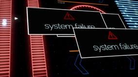 Η διακοπή του συστήματος επιγραφών εμφανίζεται στη οθόνη υπολογιστή λόγω του λάθους προγράμματος ζωτικότητας Τρέμοντας τηλεοπτικό ελεύθερη απεικόνιση δικαιώματος
