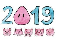η διακοσμητική εικόνα απεικόνισης πετάγματος ραμφών το κομμάτι εγγράφου της καταπίνει το watercolor Το νέο έτος 2019 με snout pig διανυσματική απεικόνιση