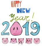 η διακοσμητική εικόνα απεικόνισης πετάγματος ραμφών το κομμάτι εγγράφου της καταπίνει το watercolor Το νέο έτος 2019 με snout pig απεικόνιση αποθεμάτων