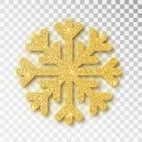 Η διακόσμηση Χριστουγέννων, χρυσός καλυμμένος snowflake φωτεινός ακτινοβολεί, στο διαφανές υπόβαθρο Χρυσό χιόνι διακοσμήσεων Χρισ ελεύθερη απεικόνιση δικαιώματος