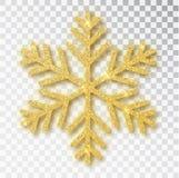 Η διακόσμηση Χριστουγέννων, χρυσός καλυμμένος snowflake φωτεινός ακτινοβολεί, στο διαφανές υπόβαθρο Χρυσό χιόνι διακοσμήσεων Χρισ διανυσματική απεικόνιση