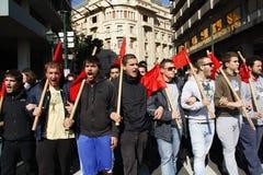 Η διαμαρτυρία αντι-αυστηρότητας στις άκρες της Αθήνας με τη δευτερεύουσα κλίμακα διαφωνεί στοκ εικόνα με δικαίωμα ελεύθερης χρήσης