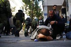 Η διαμαρτυρία αντι-αυστηρότητας στις άκρες της Αθήνας με τη δευτερεύουσα κλίμακα διαφωνεί στοκ εικόνες με δικαίωμα ελεύθερης χρήσης