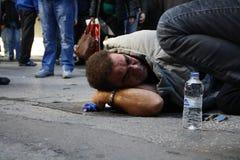 Η διαμαρτυρία αντι-αυστηρότητας στις άκρες της Αθήνας με τη δευτερεύουσα κλίμακα διαφωνεί στοκ εικόνες