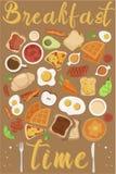 Η διανυσματική έννοια προγευμάτων έθεσε με τα τρόφιμα και τα ποτά με τα επίπεδα εικονίδια στη σύνθεση Σάντουιτς και ομελέτα σύνθε απεικόνιση αποθεμάτων