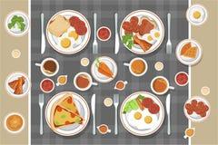 Η διανυσματική έννοια προγευμάτων έθεσε με τα τρόφιμα και τα ποτά με τα επίπεδα εικονίδια στη σύνθεση Σάντουιτς και ομελέτα σύνθε διανυσματική απεικόνιση