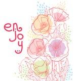 Η διανυσματική ανθοδέσμη γωνιών με το λουλούδι, τον οφθαλμό, τα φύλλα και τα λωρίδες παπαρουνών περιλήψεων στην κρητιδογραφία χρω Στοκ Εικόνα