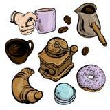 Η διανυσματική απεικόνιση έθεσε για τη διαφήμιση καφέδων, καφές στα καφετιά και ιώδη χρώματα που απομονώθηκαν στο άσπρο υπόβαθρο  ελεύθερη απεικόνιση δικαιώματος