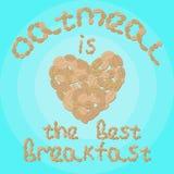 """Η διανυσματική απεικόνιση με την καρδιά και την επιγραφή """"oatmeal είναι το καλύτερο πρόγευμα """" στοκ εικόνα"""