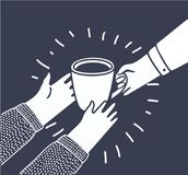 Η διανυσματική απεικόνιση στο ύφος κινούμενων σχεδίων με τα πρόσωπα δίνει σε άλλο ένα φλιτζάνι του καφέ ή ένα τσάι από το χέρι στ Στοκ φωτογραφία με δικαίωμα ελεύθερης χρήσης