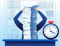 Η διανυσματική απεικόνιση συγχέει και πολυάσχολος επιχειρηματίας με πολλή εργασία που κάνει, μέρος των εγγράφων για τον πίνακα πί απεικόνιση αποθεμάτων
