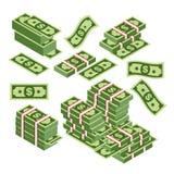 Η διανυσματική απεικόνιση των δεσμών δολαρίων διασκόρπισε, συσσωρευμένος με τις διαφορετικές πλευρές που απομονώθηκαν στο άσπρο υ απεικόνιση αποθεμάτων