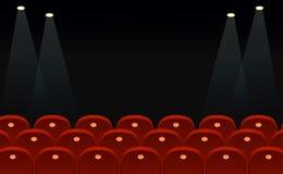 Η διανυσματική απεικόνιση των καθισμάτων κινηματογράφων μπροστά από τη μαύρη οθόνη με τη θέση για το κείμενο και τα φω'τα χωρίζου ελεύθερη απεικόνιση δικαιώματος