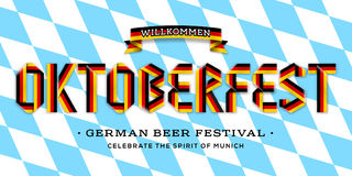 Η διανυσματική αφίσα για την εγγραφή Oktoberfest έκανε με την κορδέλλα κορδελλών των γερμανικών χρωμάτων σημαιών Στοκ Εικόνες