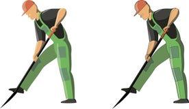 Η διανυσματική εικόνα ενός ατόμου σκάβει το έδαφος από το φτυάρι σε 2 επιλογές με τις περιλήψεις και χωρίς περίληψη διανυσματική απεικόνιση