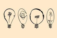 Η διανυσματική εικόνα λαμπών φωτός, χέρι που σύρθηκε lightbulb έθεσε χρησιμοποιήσιμος ως λογότυπο, εικονίδιο, clipart, σύμβολο ή  Στοκ Εικόνα