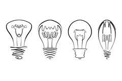 Η διανυσματική εικόνα λαμπών φωτός, χέρι που σύρθηκε lightbulb έθεσε χρησιμοποιήσιμος ως λογότυπο, εικονίδιο, clipart, σύμβολο ή  Στοκ φωτογραφία με δικαίωμα ελεύθερης χρήσης