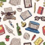 Η διανυσματική επιχείρηση γραψίματος γραφείων συγγραφέων στη γραφομηχανή και copywriter γράφει το βιβλίο σε χαρτί στην απεικόνιση διανυσματική απεικόνιση