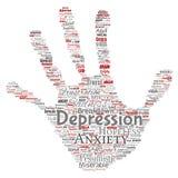 Η διανυσματική κατάθλιψη ή το διανοητικό συναισθηματικό σύννεφο λέξης γραμματοσήμων τυπωμένων υλών χεριών προβλήματος αναταραχής  ελεύθερη απεικόνιση δικαιώματος